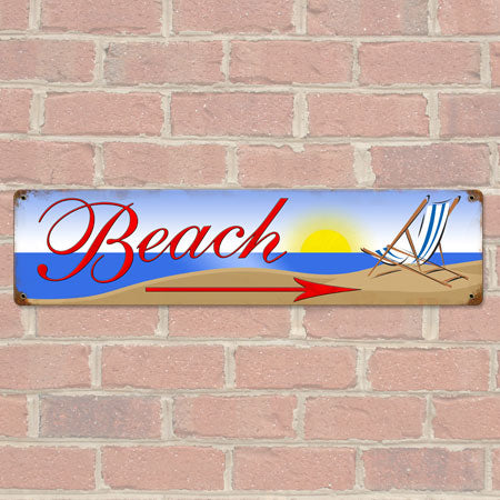 Beach Arrow Wide Metal Sign
