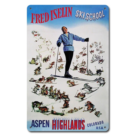 Fred Iselin Ski School Metal Sign