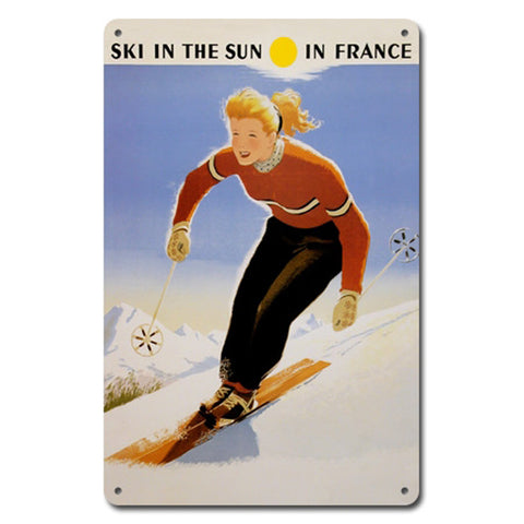 Ski In The Sun In France Metal Sign
