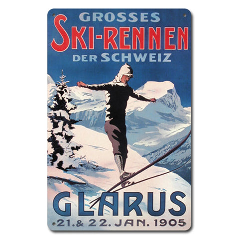 Ski Rennen Metal Sign