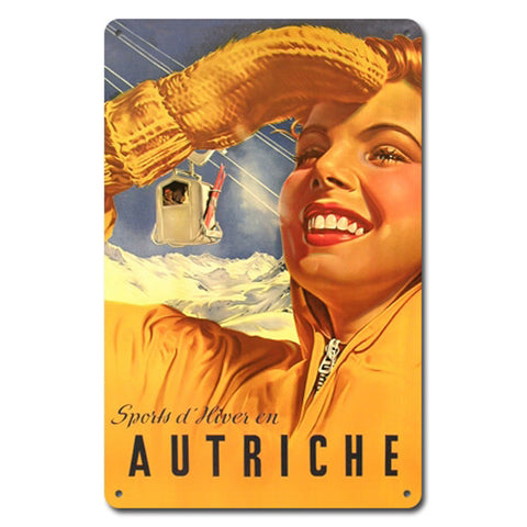 Sports d'Hiver (Autriche) Metal Ski Sign