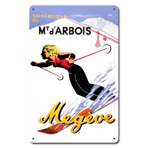 Mt. d'Arbois  Megeve Metal Ski Sign