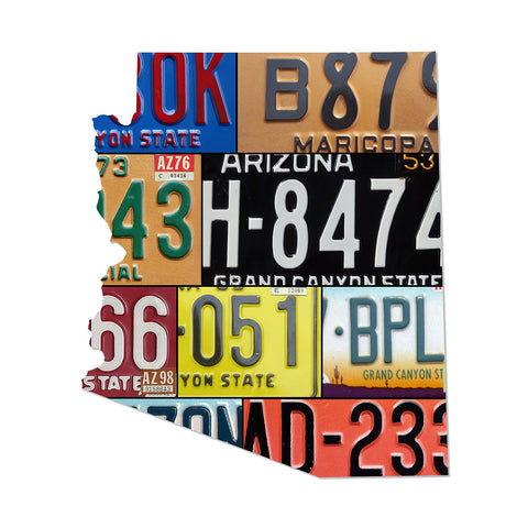 ARIZONA License Plate Plasma Cut Map Sign, Metal Sign Wall Art Garage Art Plasma Cut Rustic Sign Patriotic Sign Holiday Gift