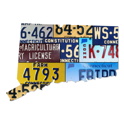 CONNECTICUT License Plate Plasma Cut Map Sign, Metal Sign Wall Art Garage Art Plasma Cut Rustic Sign Patriotic Sign Holiday Gift