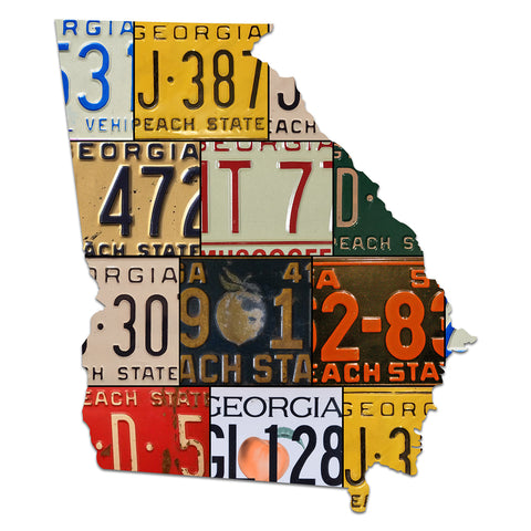 GEORGIA License Plate Plasma Cut Map Sign, Metal Sign Wall Art Garage Art