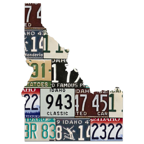 IDAHO License Plate Plasma Cut Map Sign, FAMOUS POTATOES Metal Sign