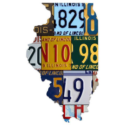 ILLINOIS License Plate Plasma Cut Map Sign, LAND OF LINCOLN Metal Sign Garage Art Patriotic Sign Holiday Gift