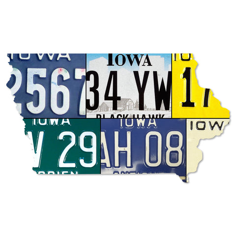 IOWA License Plate Plasma Cut Map Sign, DES MOINES Metal Sign Garage Art Patriotic Sign Holiday Gift