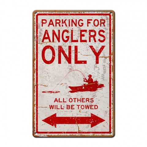 Angler Parking With Image Metal Sign