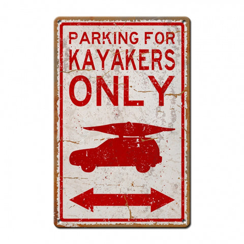 Kayaker Parking With Image Metal Sign