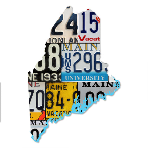 MAINE License Plate Plasma Cut Map Sign, VACATIONLAND STATE Metal Sign Garage Art Patriotic Sign