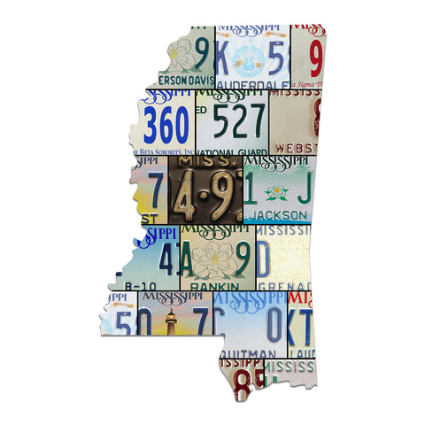 MISSISSIPPI License Plate Plasma Cut Map Sign, MAGNOLIA State Metal Garage Art Rustic Patriotic Sign