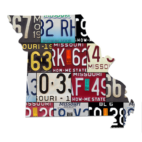 MISSOURI License Plate Plasma Cut Map Sign, SHOW-ME STATE Metal Garage Art Rustic Patriotic Sign