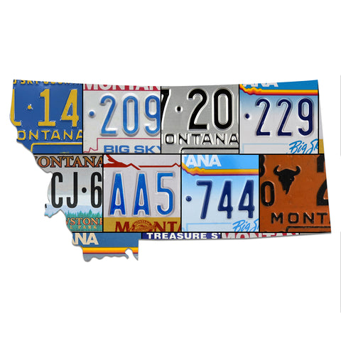 MONTANA License Plate Plasma Cut Map Sign, BIG SKY COUNTRY Metal Garage Art Rustic Patriotic Sign