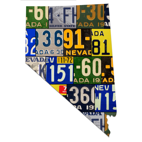 NEVADA License Plate Plasma Cut Map Sign, THE SILVER STATE Metal Garage Art Patriotic Sign