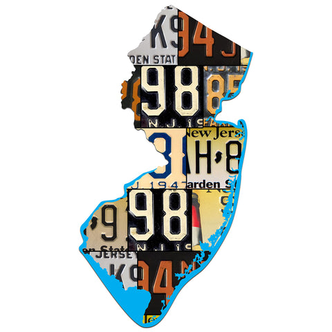 NEW JERSEY License Plate Plasma Cut Map Sign, GARDEN STATE Metal Garage Art Patriotic Sign