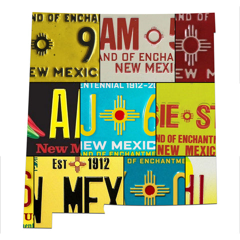 NEW MEXICO License Plate Plasma Cut Map Sign, LAND OF ENCHANTMENT STATE Metal Garage Art Patriotic Sign