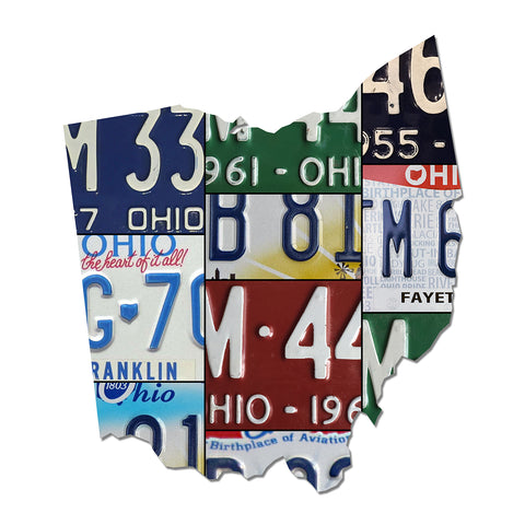 OHIO License Plate Plasma Cut Dibond Map Sign, Birthplace Of Aviation State Garage Art Rustic Sign
