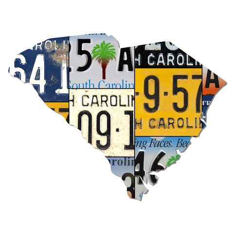 SOUTH CAROLINA License Plate Dibond Map Sign, SMILING FACES BEAUTIFUL PLACES Garage Art Rustic Sign