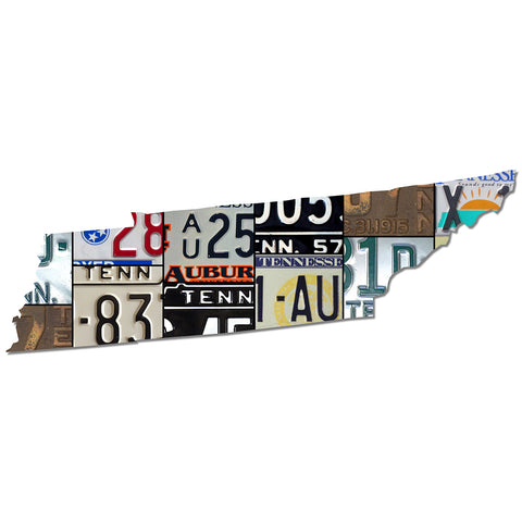 TENNESSEE License Plate Plasma Cut Dibond Map Sign, VOLUNTEER State Garage Art Rustic Sign