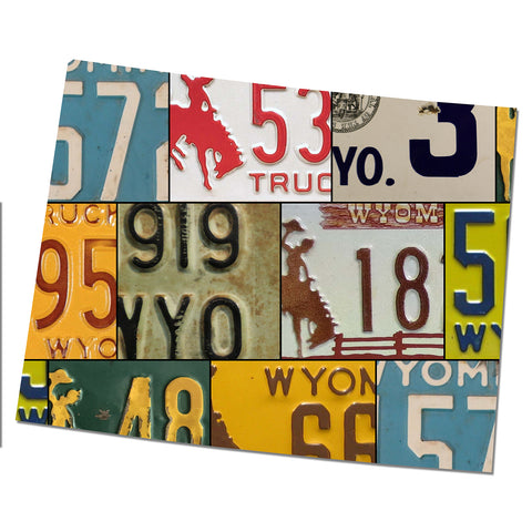 WYOMING License Plate Plasma Cut Dibond Map Sign, THE COWBOY STATE Garage Art Rustic Sign