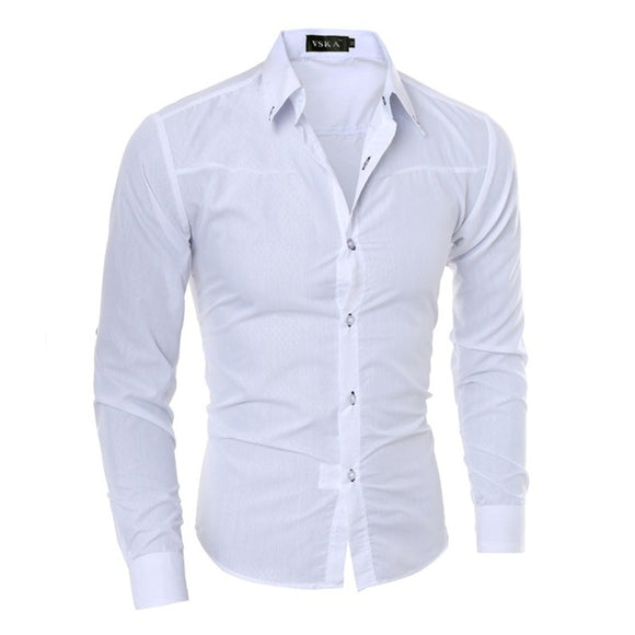 CAMISA HOMBRE FASHION FORMAL ENTALLADA SLIM FIT  LISO