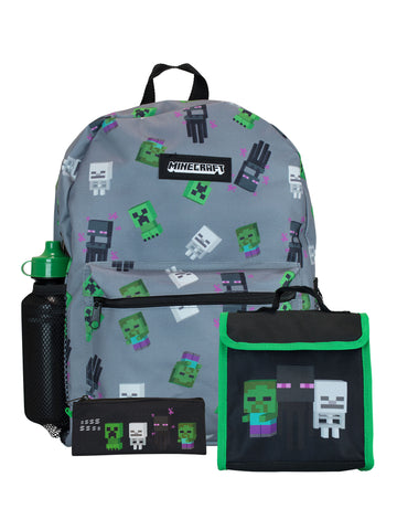 Minecraft Backpack 4 Piece Set