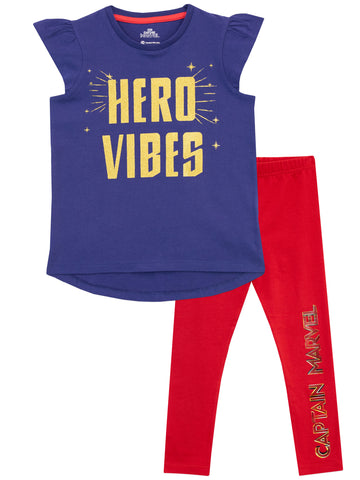 Captain Marvel Top & Leggings Set