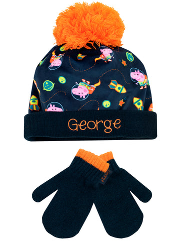 George Pig Hat and Gloves Set