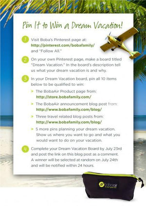 Enter the Boba Air $1000 Dream Vacation Pin-It-To-Win-It Giveaway