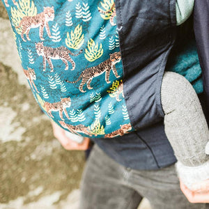 Upclose of baby in the 4GS Bengal Soft Structured Boba Baby Carrier.