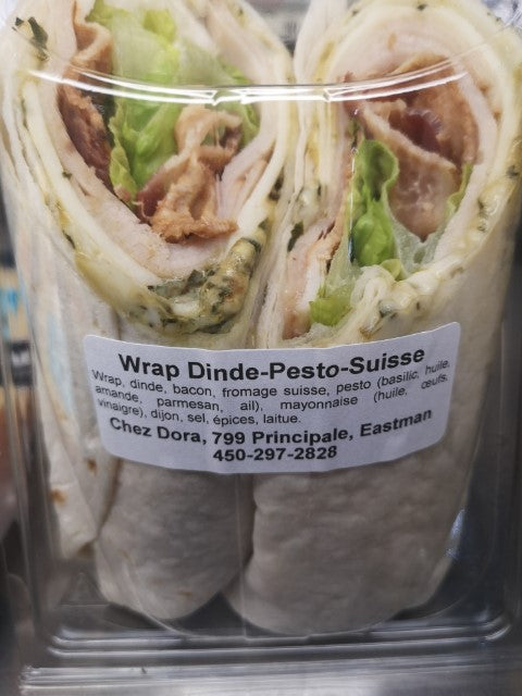 SANDWICH WRAP DINDE + BACON + SUISSE + PESTO MAISON