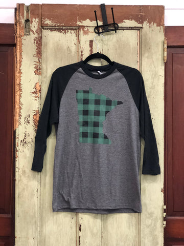 Green Buffalo Plaid MN Raglan