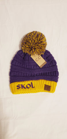 SKOL CC Purple and Gold Pom Beanie
