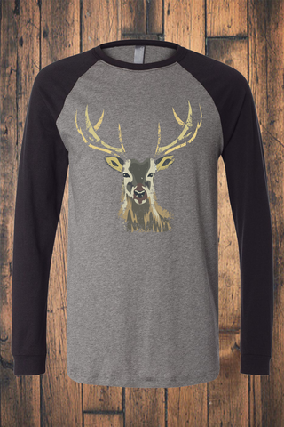 Camo Deer Long Sleeve Raglan