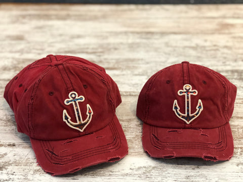 Anchor patterned hat (red or turquoise)