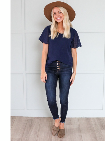 Swiss Dot Flutter Sleeve Top ( Available in Ivory and Navy)