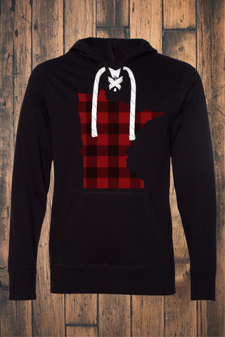 Buffalo Plaid MN Jersey Hooded Pullover