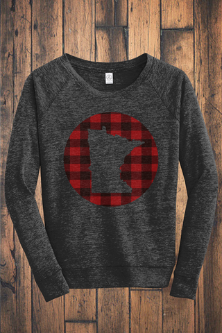 Make Your Mark on MN Buffalo Plaid Eco-Jersey Pullover