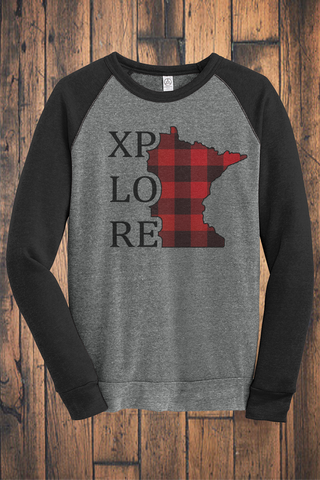 XPLORE Buffalo Plaid Fleece Crew Sweatshirt