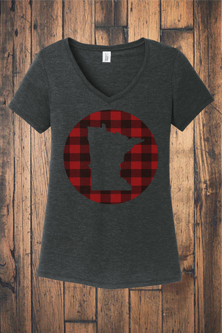 Make Your Mark on MN Buffalo Plaid V-neck Tee