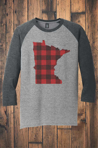 Buffalo Plaid MN 3/4 Sleeve Raglan