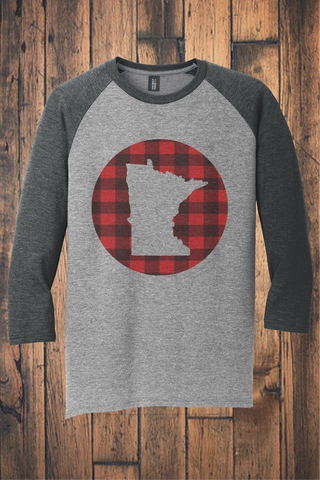 Make Your Mark on MN Buffalo Plaid 3/4 Sleeve Raglan