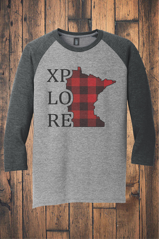 XPLORE Buffalo Plaid 3/4 Sleeve Raglan