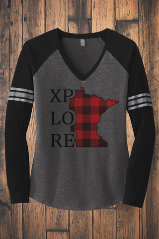 XPLORE Buffalo Plaid Long Sleeve V-Neck