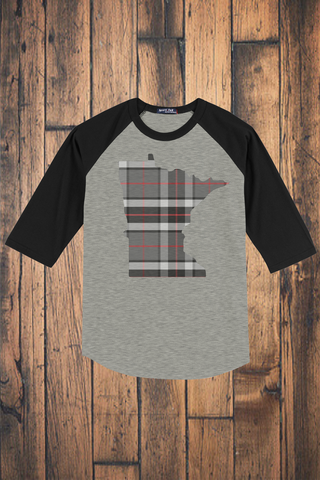 Minnesota Mixed Plaid 3/4 Sleeve Raglan
