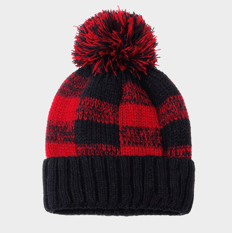 Buffalo Plaid Pom Pom Beanie Hat
