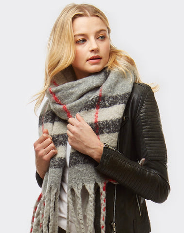 Plaid Boucle Oblong Scarf - Grey