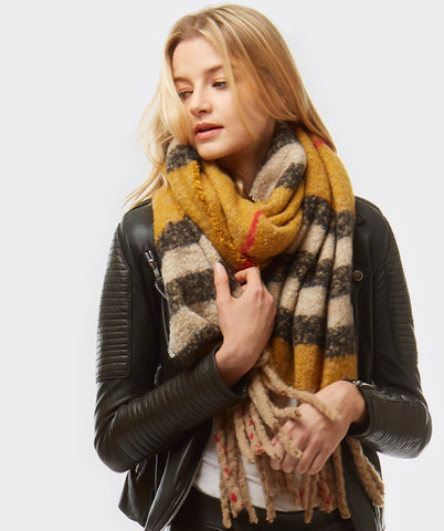 Plaid Boucle Oblong Scarf - Mustard