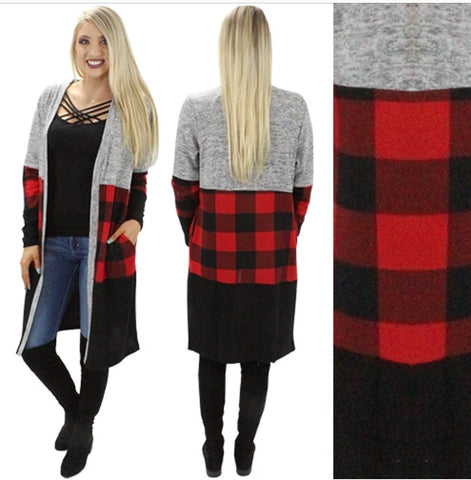 Buffalo Plaid Block Cardigan